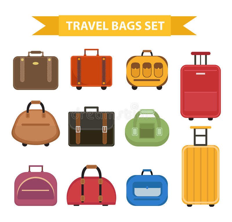 Travel bags icon set, flat style, isolated on a white background. Collection different suitcases, luggage. Vector stock illustration