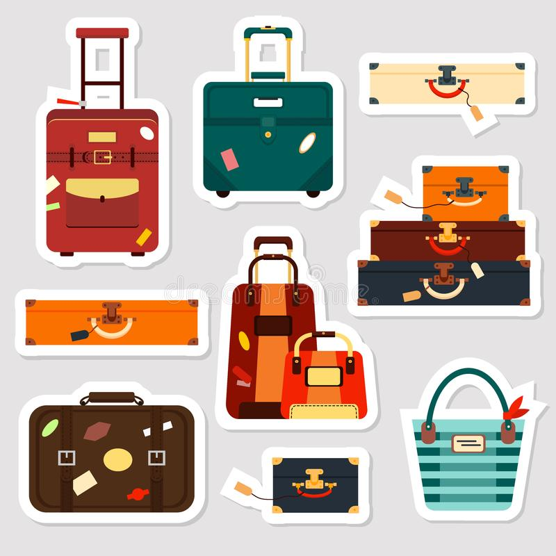Download travel bags stickers and patches collection vector illustration set business voyage packing handle
