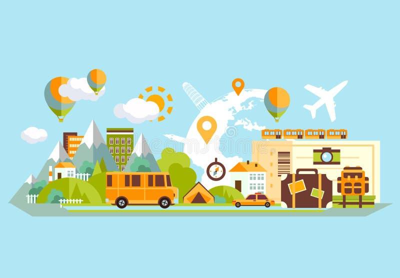 Travel Banner Flat stock illustration