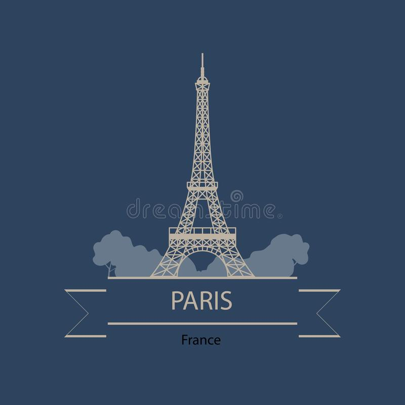 Travel banner or logo of Paris and France with landmarks vector illustration