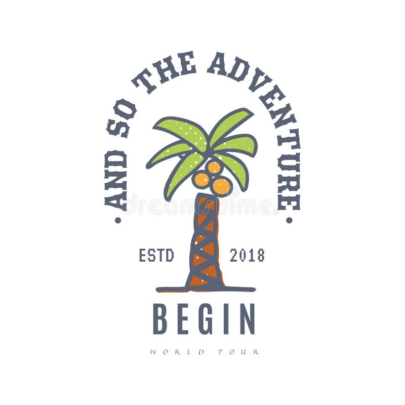 And so the adventure begins, banner for print, on white background- vector illustration stock illustration