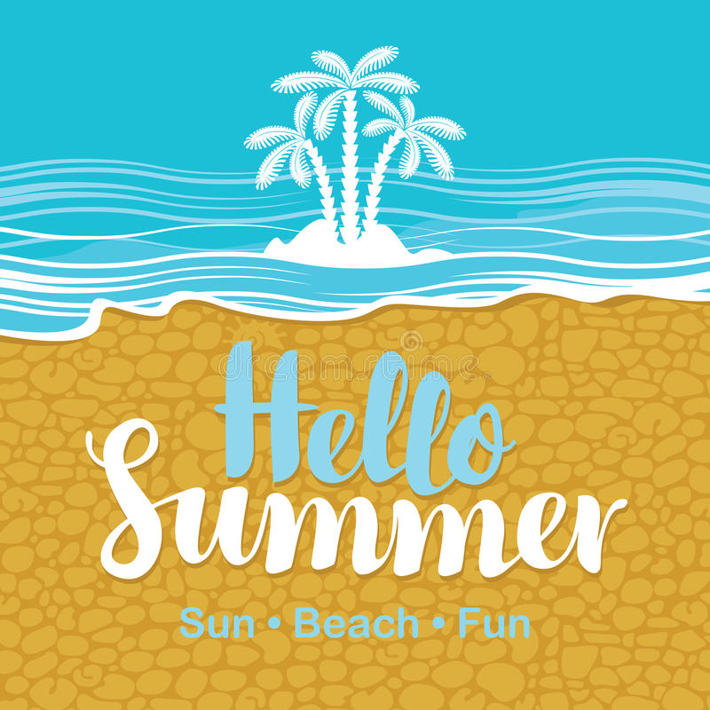 Travel banner with the sea, beach sand and palms vector illustration