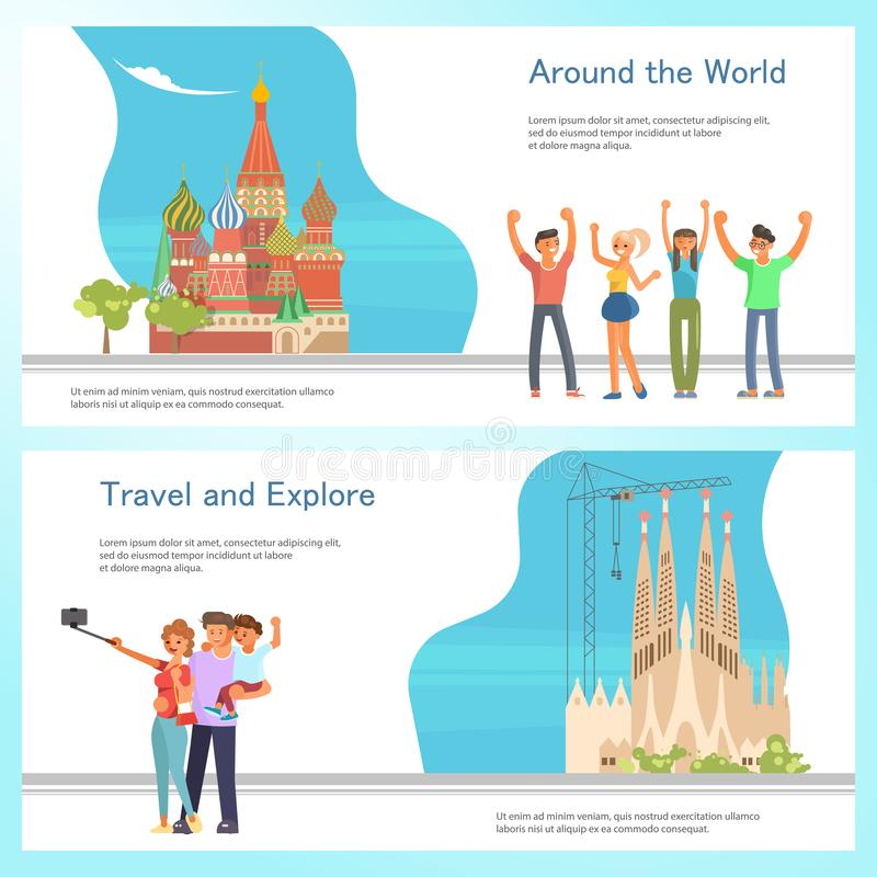 Travel banner template design set stock illustration