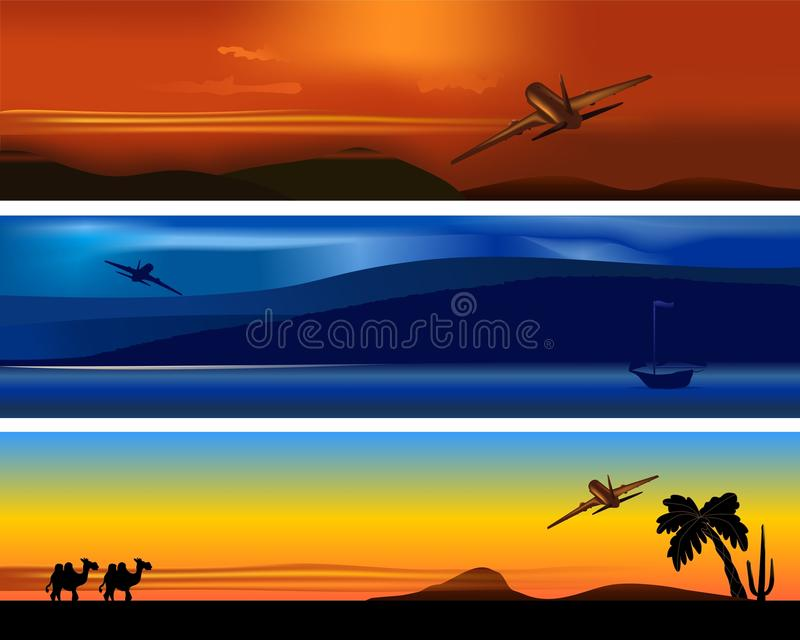 Travel banners, cdr vector royalty free illustration