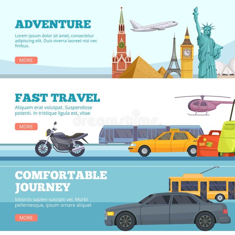 Travel banners. Globe adventure transport travellers landmarks london paris new york russia comfortable cars airplane royalty free illustration