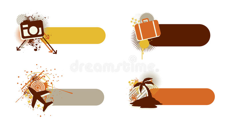 Travel banners. Modern travel, tourism and vacation banners. They feature a camera, a suitcase, an airplane and a palmtree, they all have and a grunge and trendy royalty free illustration