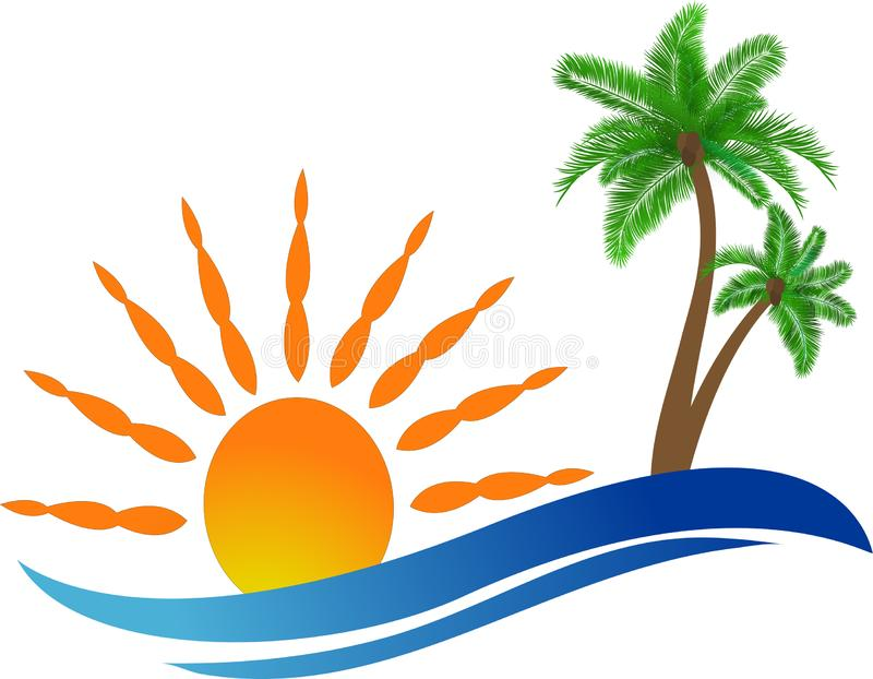 Travel, beach and coconut palm trees on island with wave, logo vector illustration