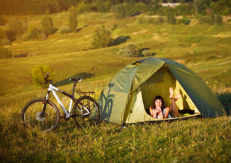 Download Travel With Bicycle Alone - Young Woman In The Tent Stock Image - Image of & Travel With Bicycle Alone - Young Woman In The Tent Stock Image ...