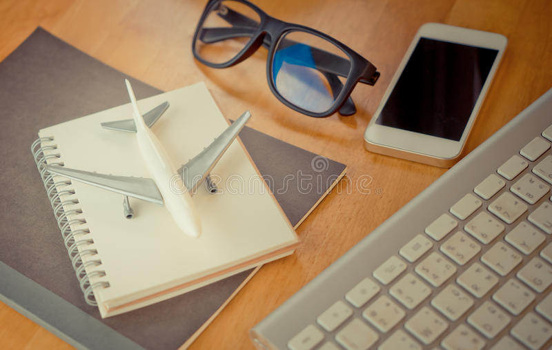 Travel blogger diary writting accessories equipment stock image