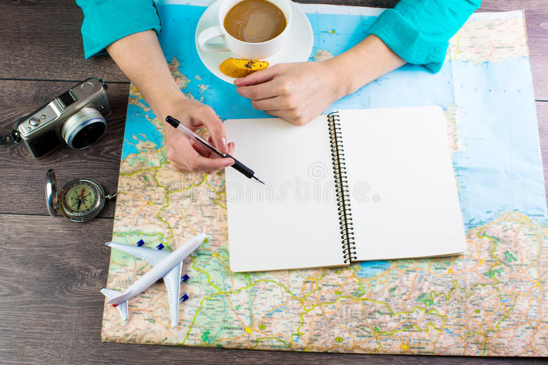 Travel blogger writing reviews stock photos