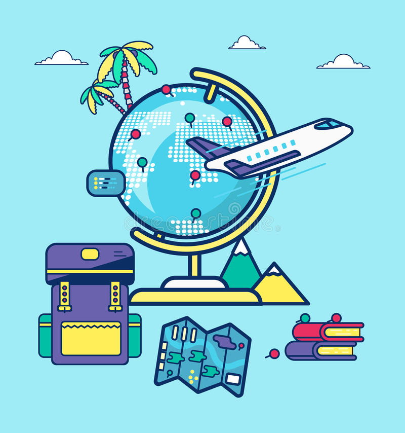 Travel blogging stock illustration