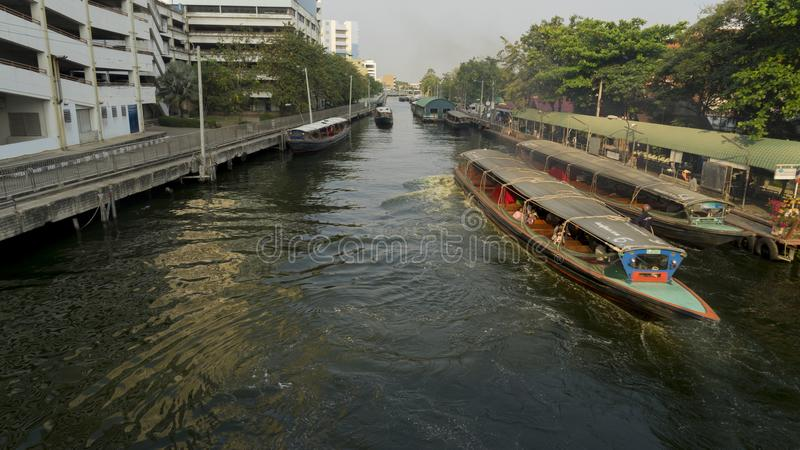 Travel by boat in canal of Bangkok it is also important royalty free stock photos