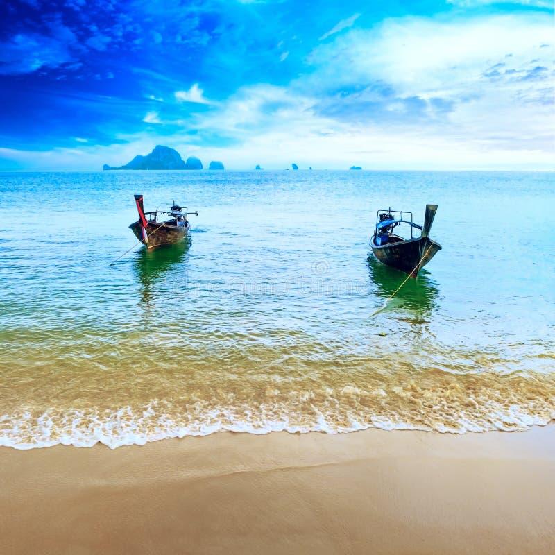 Free Travel Boat On Thailand Island Beach. Tropical Coast Asia Landscape Background Royalty Free Stock Image - 32070876