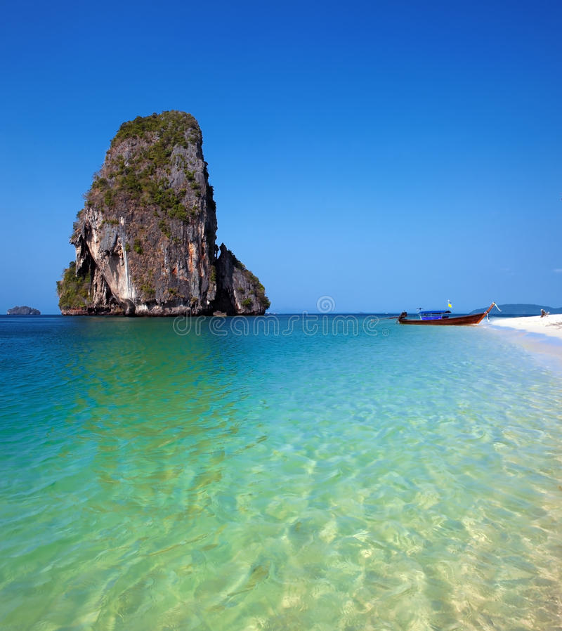 Free Travel Boat On Thailand Island Beach. Tropical Coast Asia Landscape Background Stock Photography - 32070972