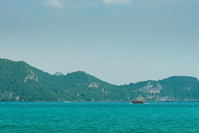 Small island in mu ko angthong marine national park stock photo