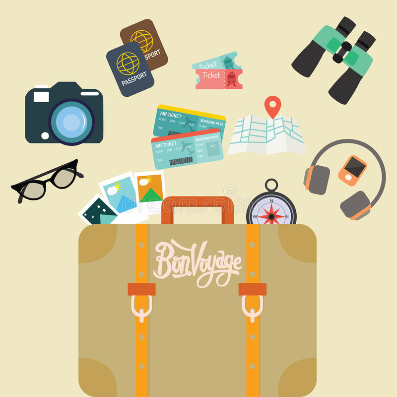 Travel bon voyage baggage leather suitcase object carry like camera passport map and ticket. Vector vector illustration