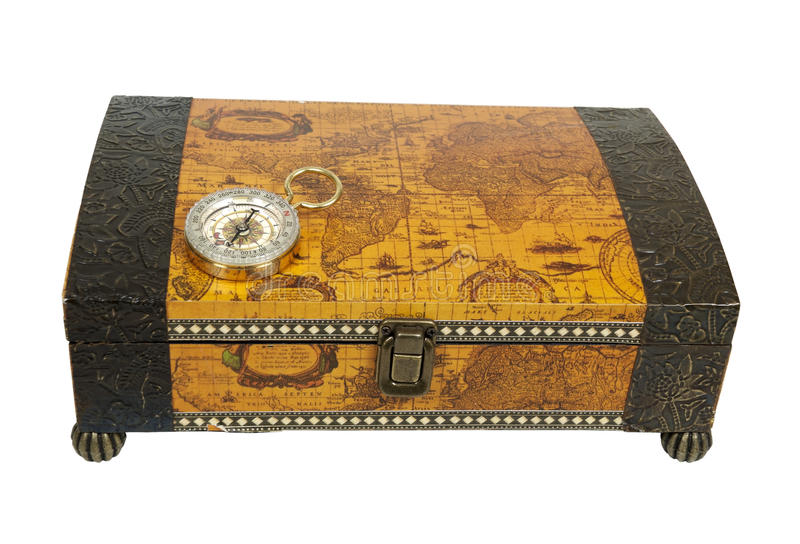 Travel Box and Compass. Travel box for storing vacation memories and a compass used for navigational purposes - path included stock images