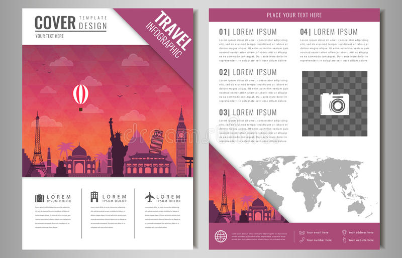 Travel brochure design with famous landmarks and world map for Travel brochure design templates