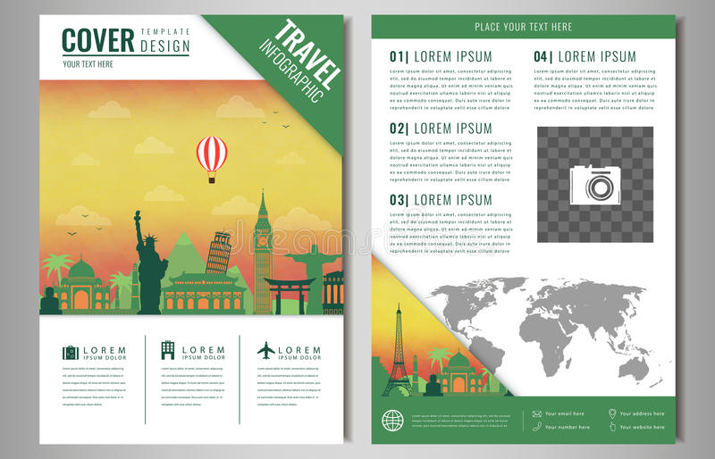 Travel brochure design with famous landmarks and world map download travel brochure design with famous landmarks and world map template for travel and tourism gumiabroncs Choice Image