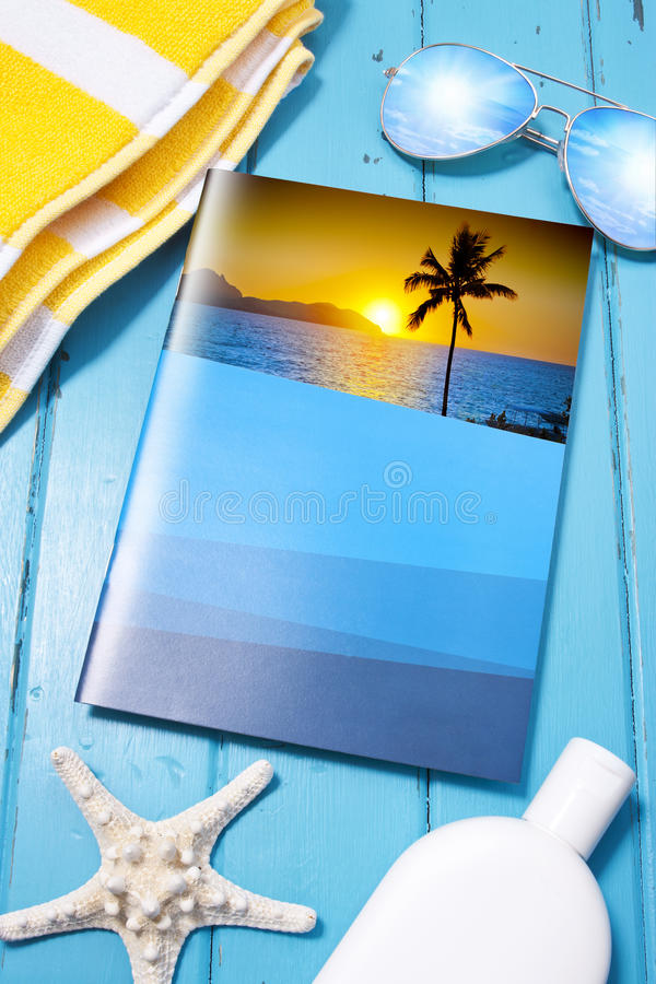 Travel Vacation Brochure Insurance. A travel brochure with a tropical beach vacation theme stock image