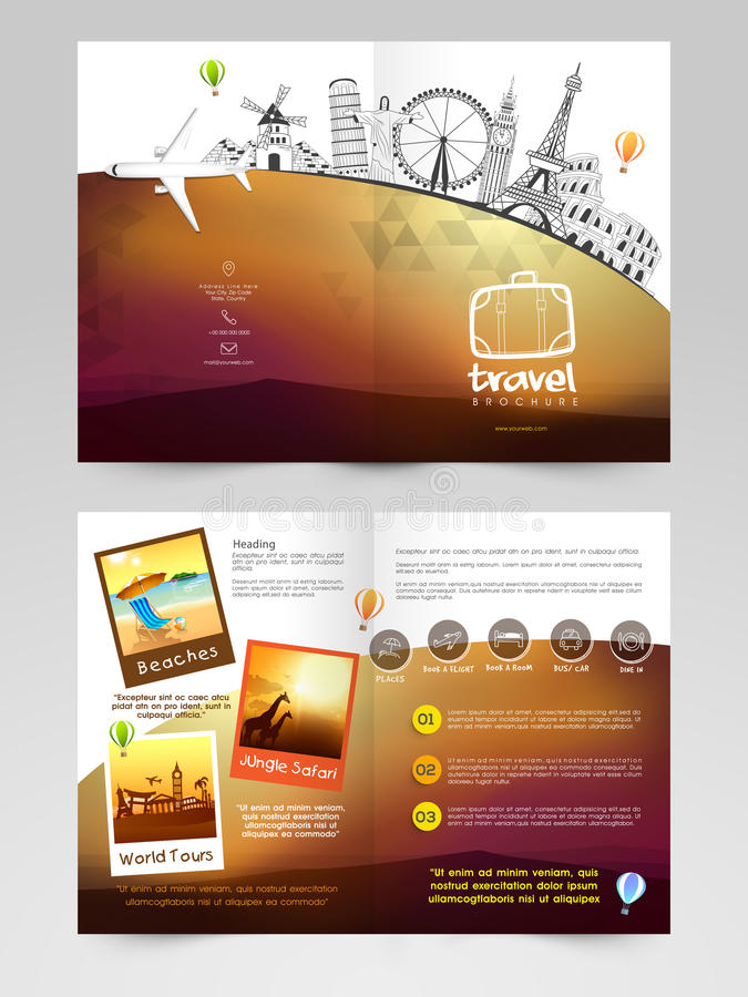 Travel brochure template or flyer design stock for Tour brochure template