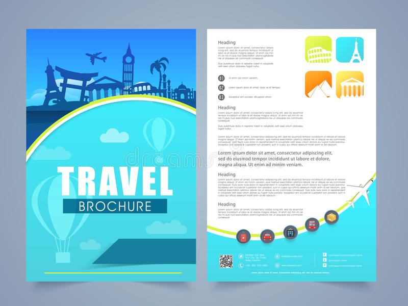Travel Brochure, Template Or Flyer Design. Stock Illustration