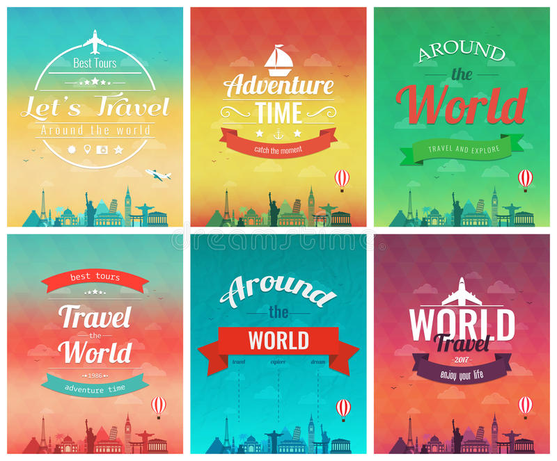 Travel brochure with world landmarks. Template of magazine, poster, book cover stock illustration
