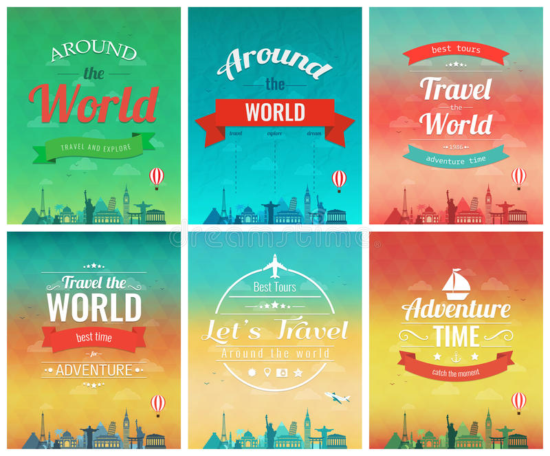 Travel brochure with world landmarks. Template of magazine, poster, book cover, banner stock illustration