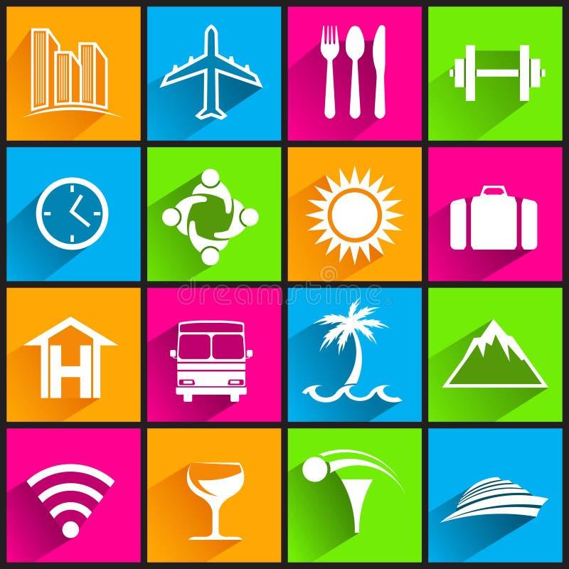 Travel business icons on color background. Vector flat design illustration stock illustration