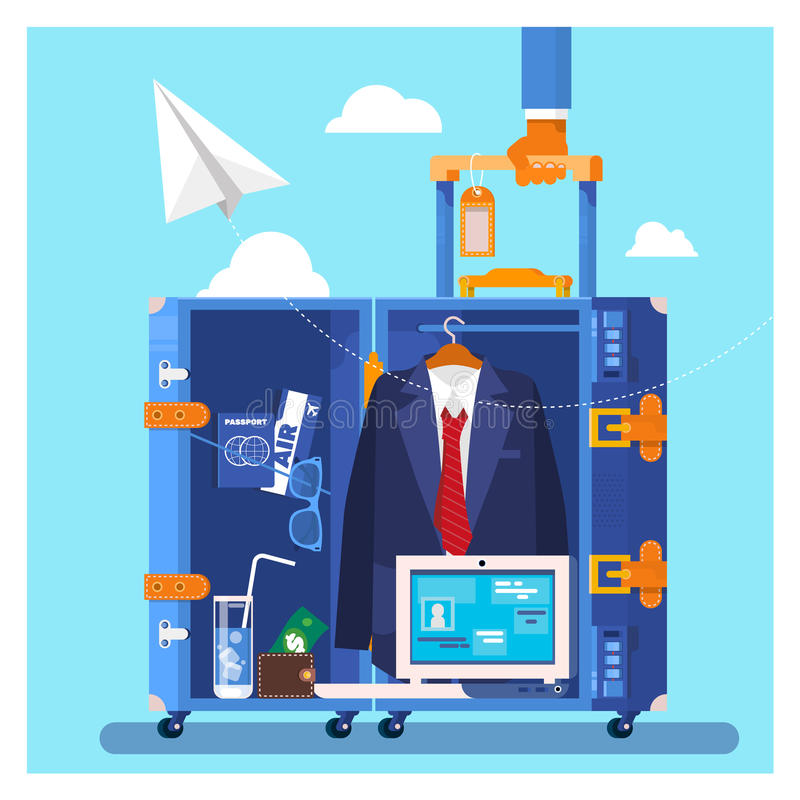 Travel, business trip concept. Businessman holding travel suitcase Vector illustration in flat style vector illustration