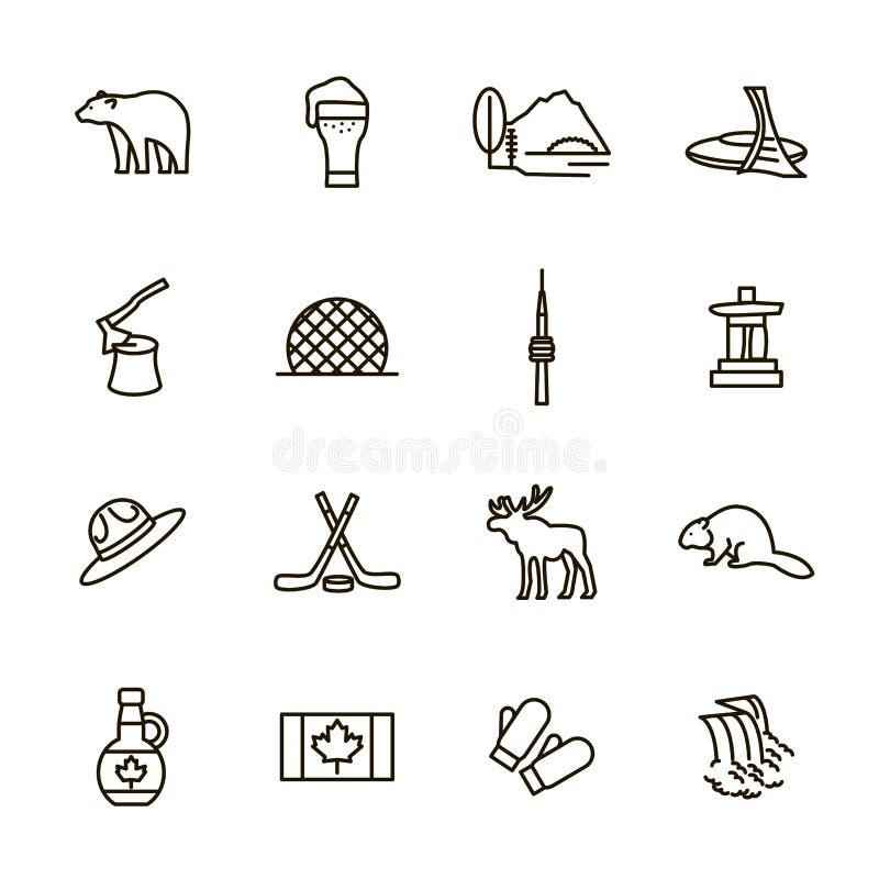 Travel Canada Signs Black Thin Line Icon Set. Vector vector illustration