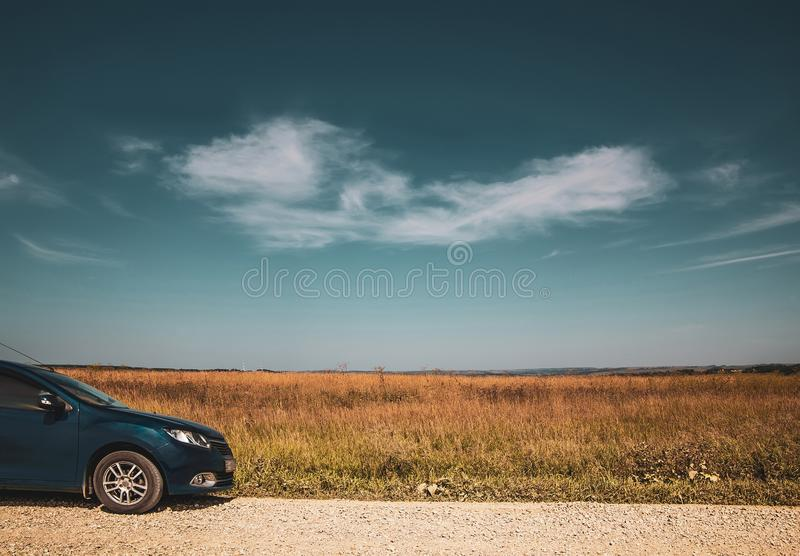 Travel by car.  white cloud on blue sky royalty free stock image