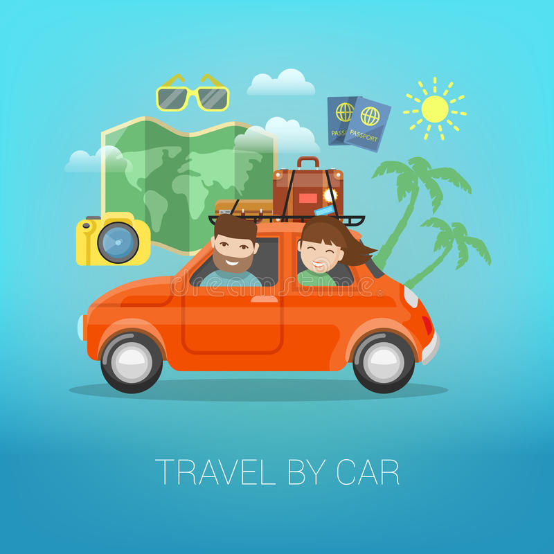Travel by Car. Happy Couple Traveling. With Baggage in Car. Vector illustration vector illustration