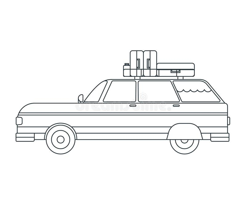 Travel Car Icon. Concept for Outdoor and Hike Trip. Outline Style. Travel Symbol, Logo, Icon and Badge. Simple Vector illustration.  royalty free illustration