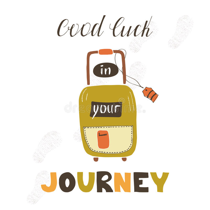 Download Travel Card With Suitcase Stock Vector. Illustration Of Hipster    80372203  Good Luck Card Template