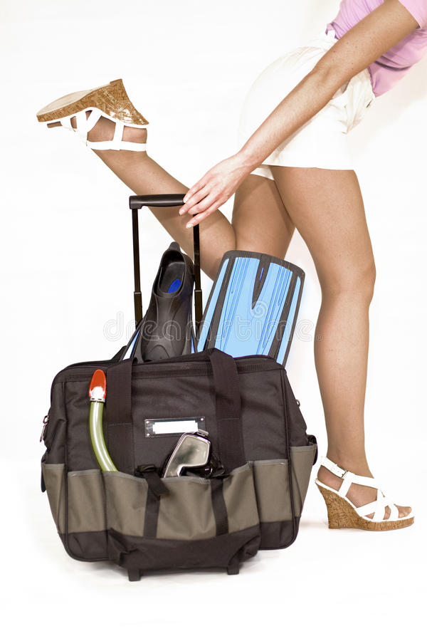 Travel Case With Accessories For Snokerling Royalty Free Stock Photos