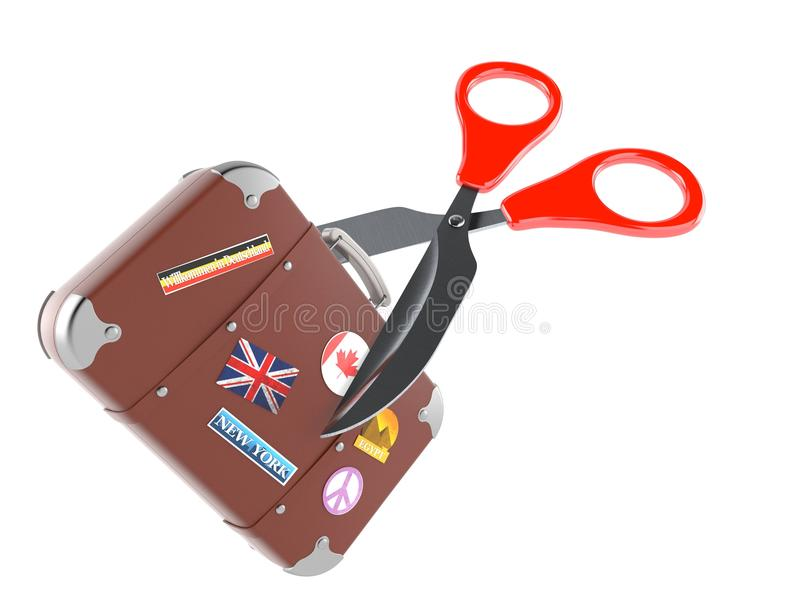 Travel case with scissors. Isolated on white background. 3d illustration royalty free illustration