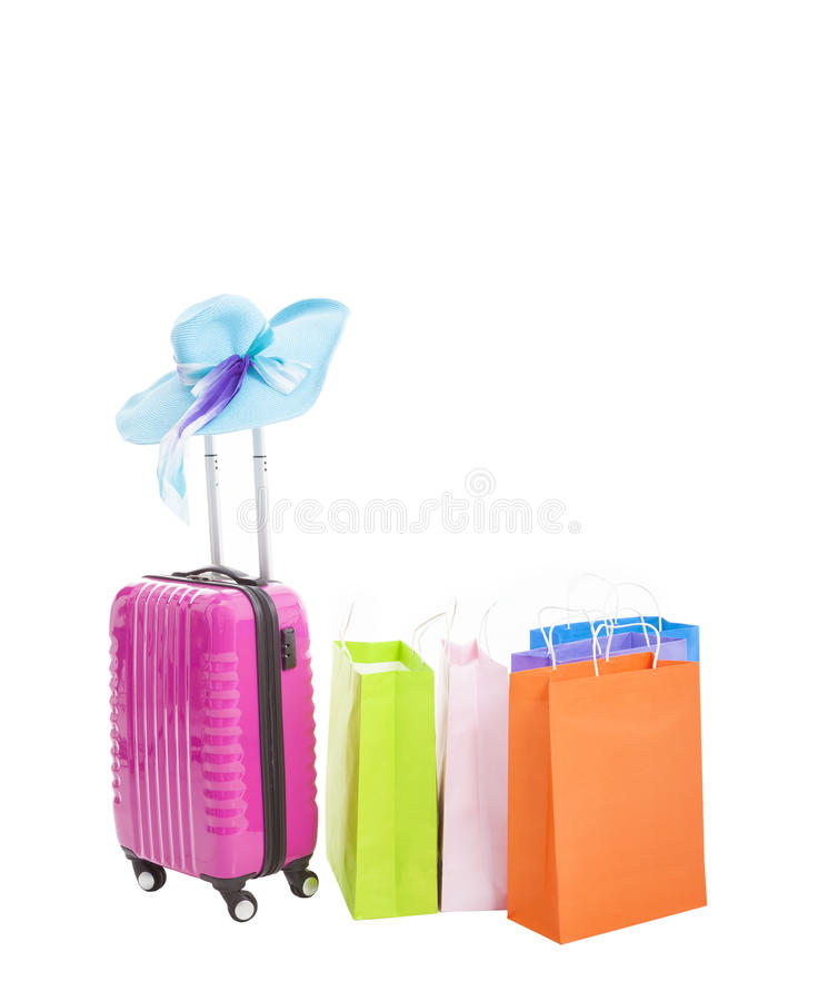 Travel Case With Shopping Bags Stock Photos