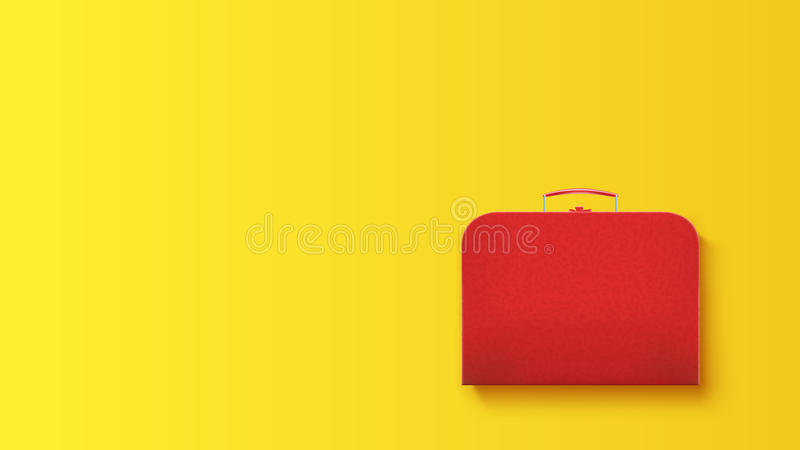 Travel case on yellow. Illustration of red leather suitcase with shadow lying on yellow background vector illustration