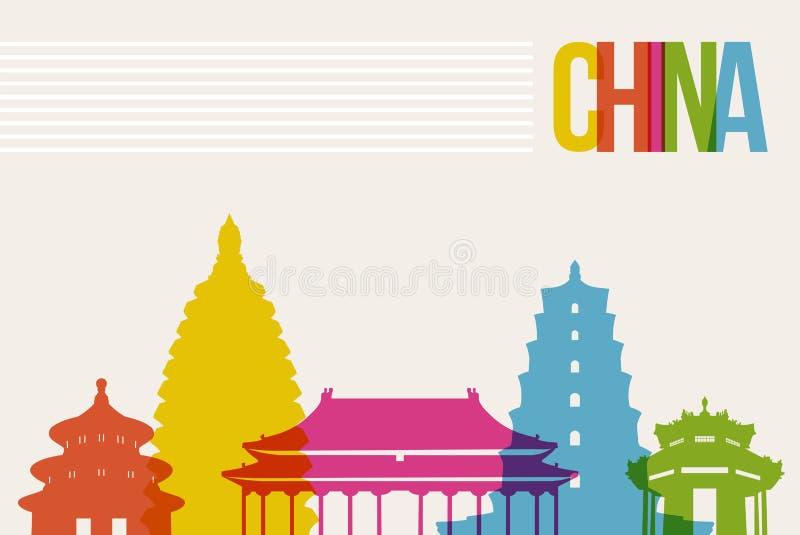 Travel China destination landmarks skyline background stock illustration