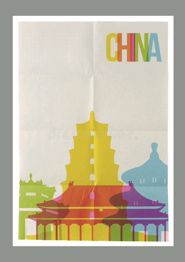 Travel China landmarks skyline vintage poster vector illustration