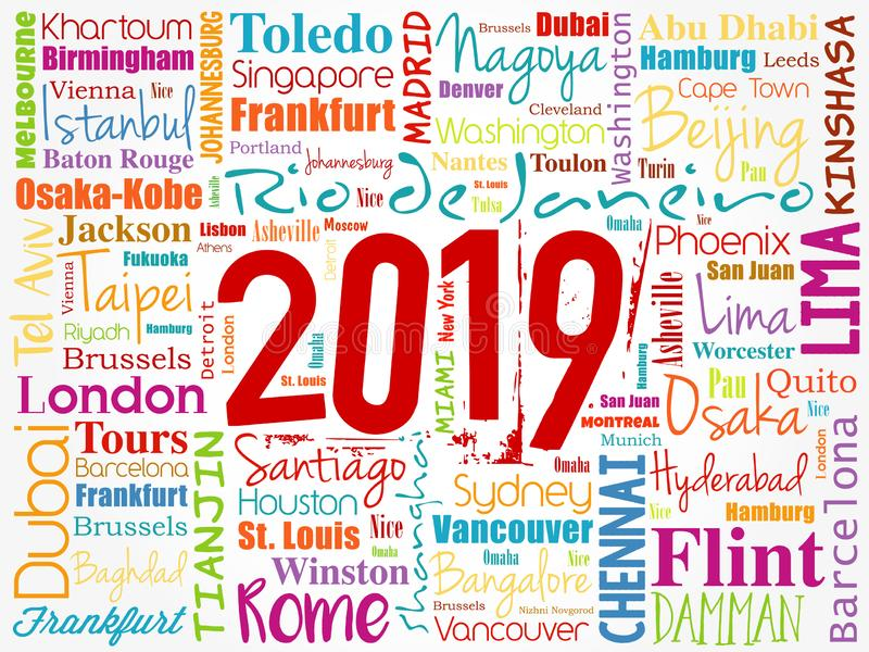 2019 travel cities word cloud collage stock illustration