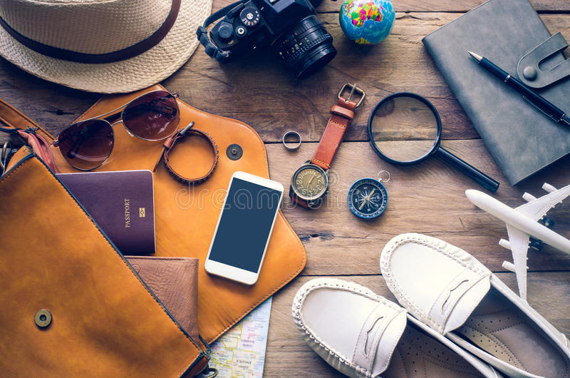 Travel Clothing accessories Apparel along for the trip stock photography
