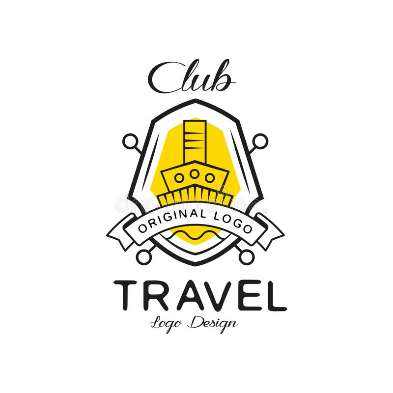 Travel club logo design, heraldic shield with ship, badge can be used for travel agency, sail club vector Illustration. Isolated on a white background royalty free illustration