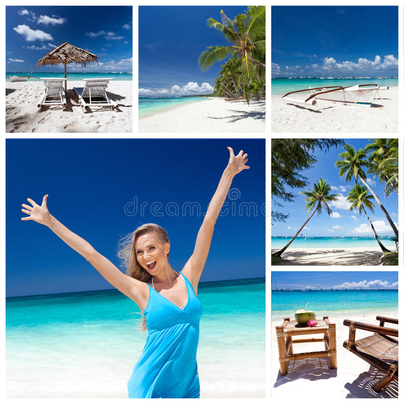 Travel collage. Different views from tropical beach. Travel collage royalty free stock images