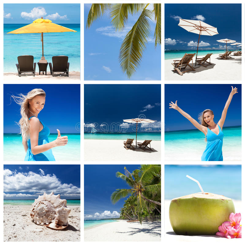 Travel collage. Different views from tropical beach. Travel collage royalty free stock photography