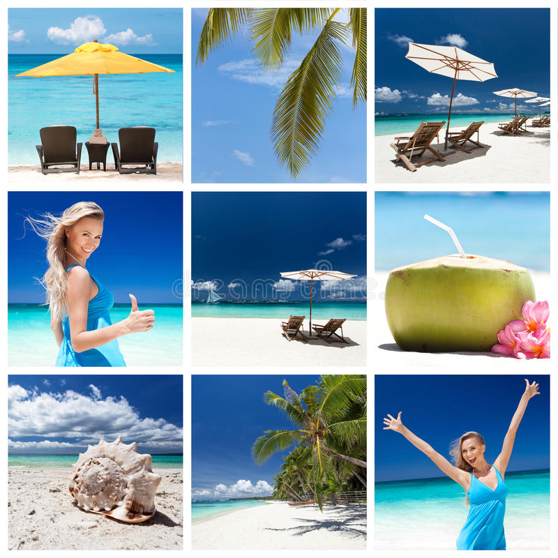 Travel collage. Different views from tropical beach. Travel collage stock images
