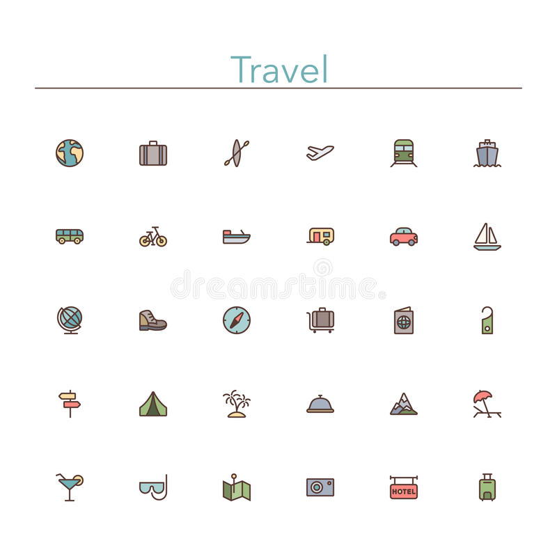 Travel Colored Line Icons vector illustration
