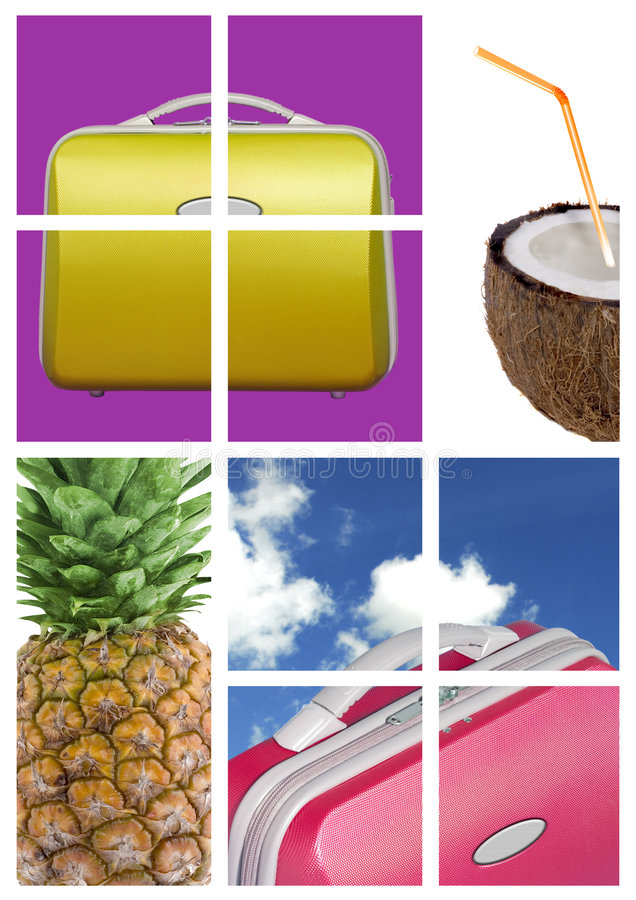 Travel comp with fruit. A comp of various travel luggage cases and fruit against a colorful background of color blocks and sky shots stock image