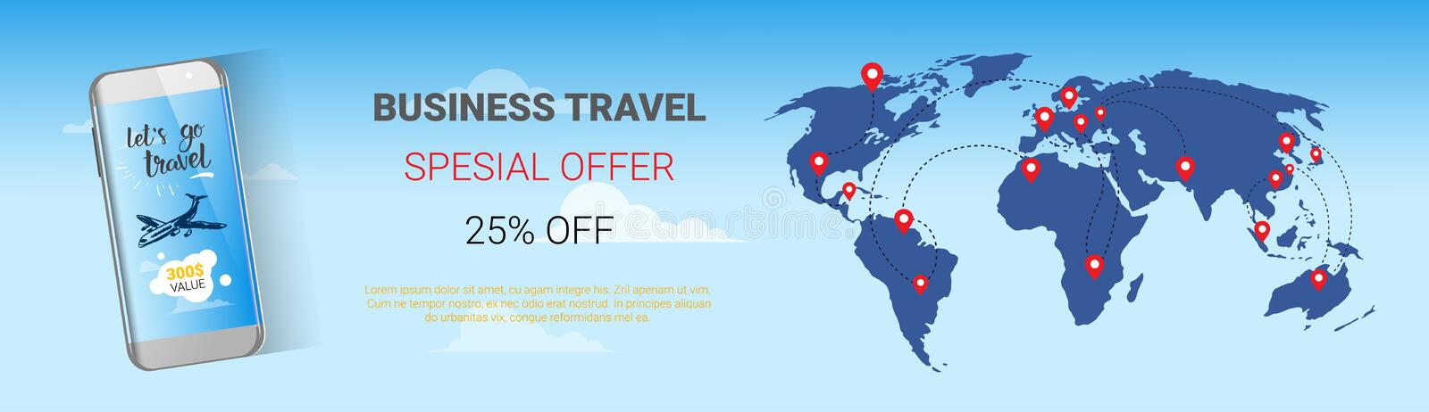 Travel Company Sale Banner Business Tour Special Offer Template Horizontal Poster with World Map Background, Tourism royalty free illustration